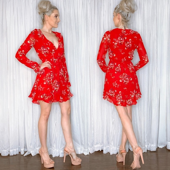Divided Dresses & Skirts - Long Sleeve Red Floral Mini Dress